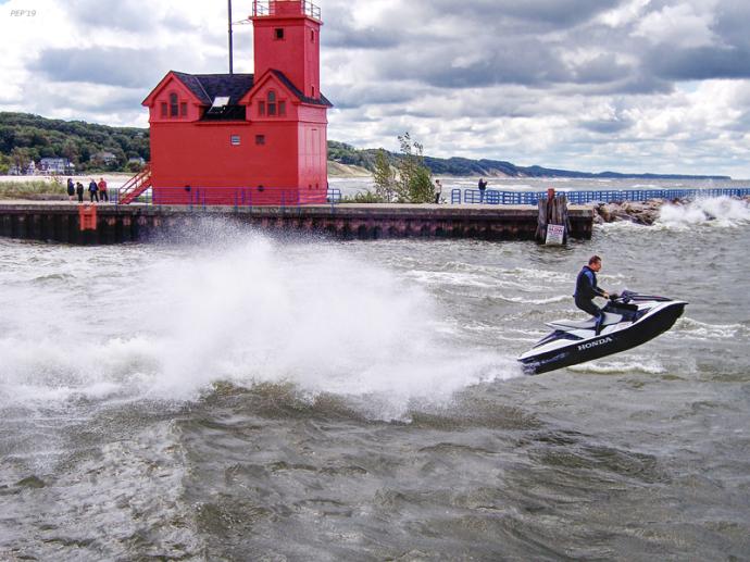 Riding Waves on Lake Michigan