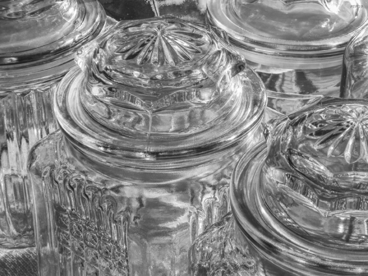Black And White Glass Jars