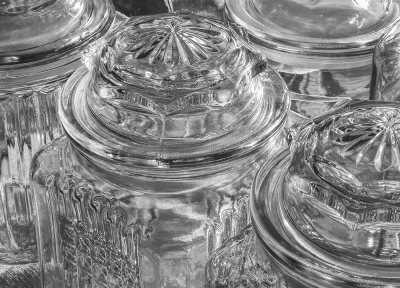 Black And White Glass Jars