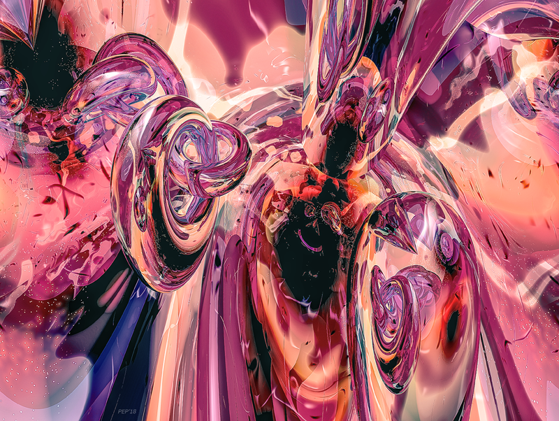 3D Lavender And Peach Abstract