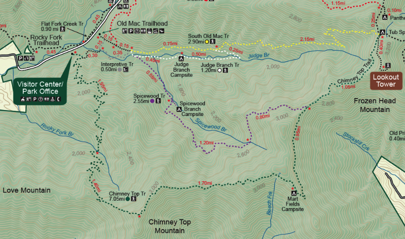 Map of Frozen Head State Park