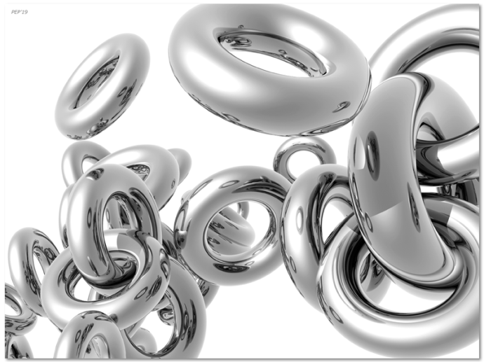 Three dimensional reflective silver rings