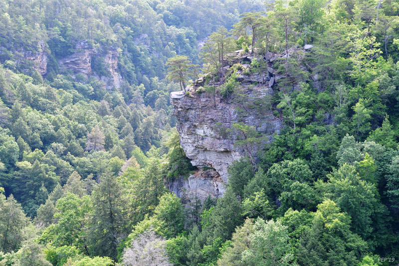 View of rocky outcropping in gorge.